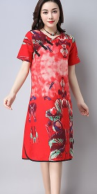 Cross-collar Ethnic Dress-Red (RM)