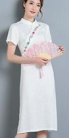 民族風情漢式交領連衣裙-天藍色 (成衣)