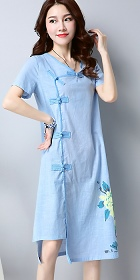 Ethnic Mid-length Hand-painting Dress-Sky Blue (RM)