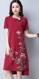 Ethnic Mid-length Hand-painting Dress-Burgundy (RM)