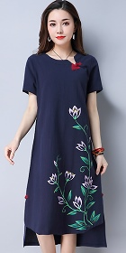 Ethnic Mid-length Hand-painting Dress-Navy Blue (RM)