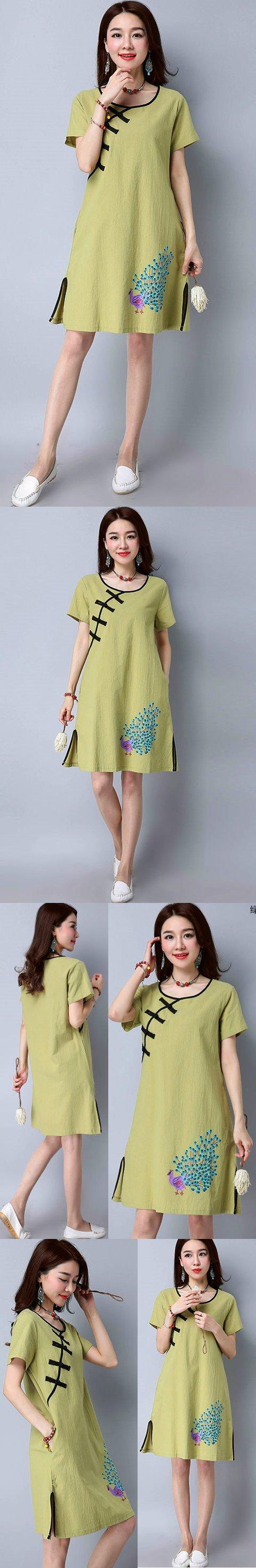 民族風情碗袖連衣裙-淺綠色 (成衣)