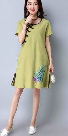 Ethnic Cup-sleeve Hand-painting Dress-Light Green (RM)