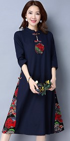 Ethnic Mid-length Dress with patches-Navy Blue (RM)