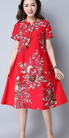 Ethnic Mid-length Floral-printing Dress-Red (RM)