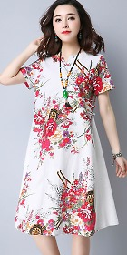 Ethnic Mid-length Floral-printing Dress-White(RM)