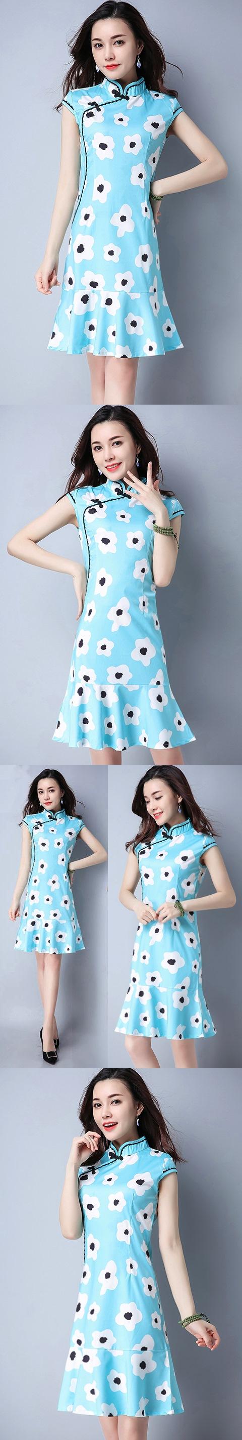 民族風情印花連衣裙-天藍色 (成衣)