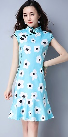 Ethnic Cup-sleeve Printing Dress-Sky Blue (RM)