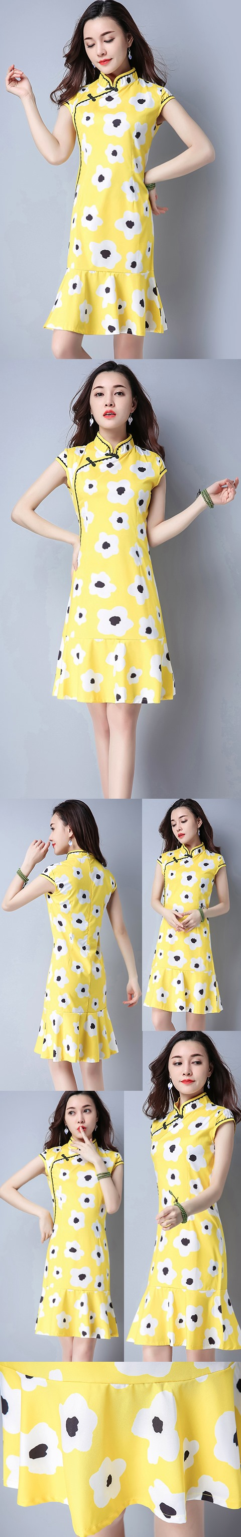 Ethnic Cup-sleeve Printing Dress-Yellow (RM)