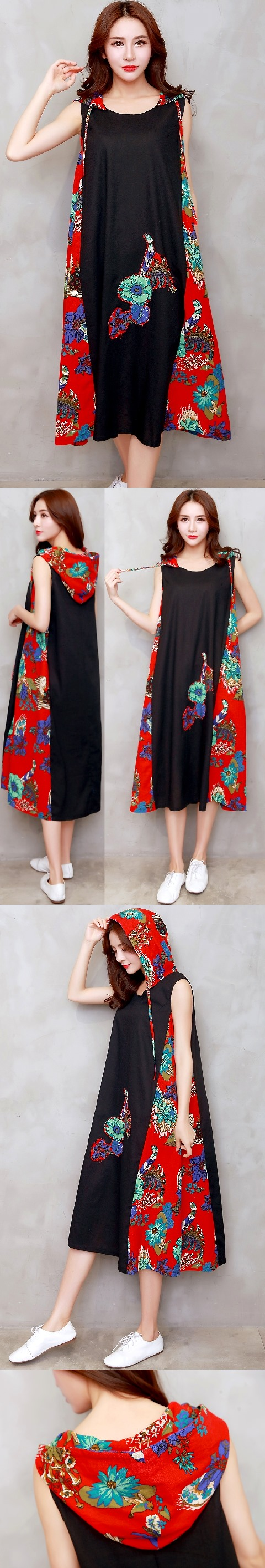 Ethnic Hooded-dress with patches-Black (RM)