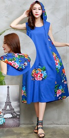 Ethnic Hooded-dress with patches-Blue (RM)