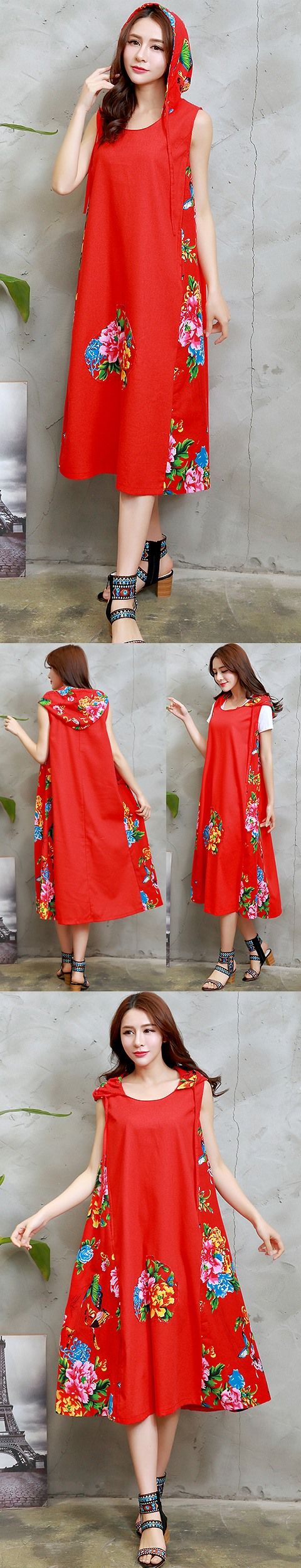 Ethnic Hooded-dress with patches-Red (RM)