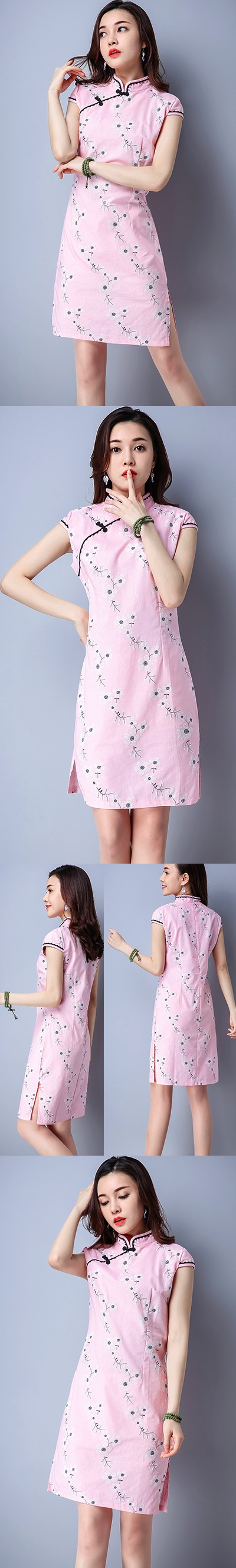 Ethnic Cup-sleeve Printing Dress-Pink (RM)