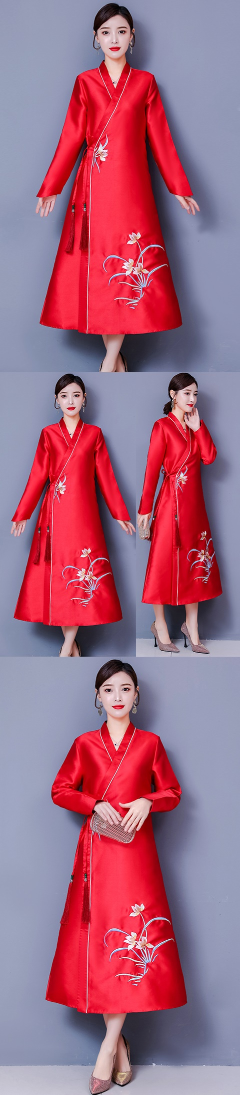 Modernized Hanfu-style Embroidery Long-sleeve Dress (CM)