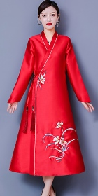 Modernized Hanfu-style Embroidery Long-sleeve Dress (CM)