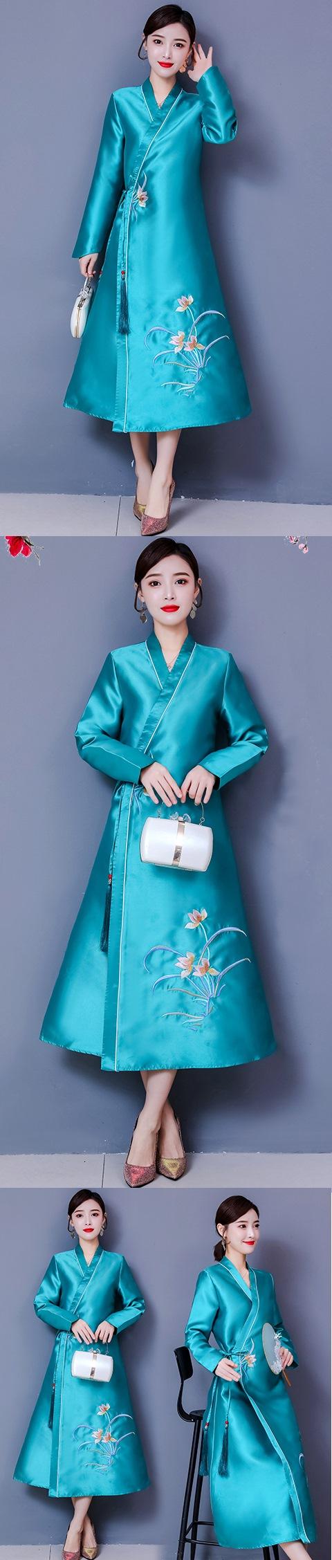 Modernized Hanfu-style Embroidery Long-sleeve Dress (RM)