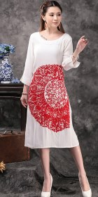 Ethnic 3/4-sleeve Emboss Dress - White (RM)