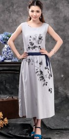 Ethnic Hand-painting Sleeveless Linen Dress (RM)