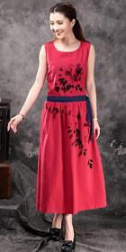 Ethnic Hand-painting Sleeveless Linen Dress (RM)