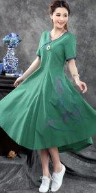 Ethnic Hand-painting Short-sleeve Linen Dress (RM)
