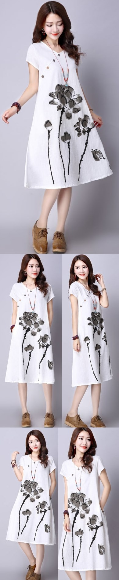 Ethnic Hand-painting Short-sleeve Linen Dress (RM)