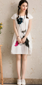 Ethnic Hand-painting Cup-sleeve Linen Dress (RM)