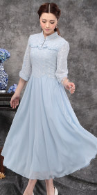 Ethnic 3/4-sleeve Embroidery-gauze Dress -  Light Blue (RM)