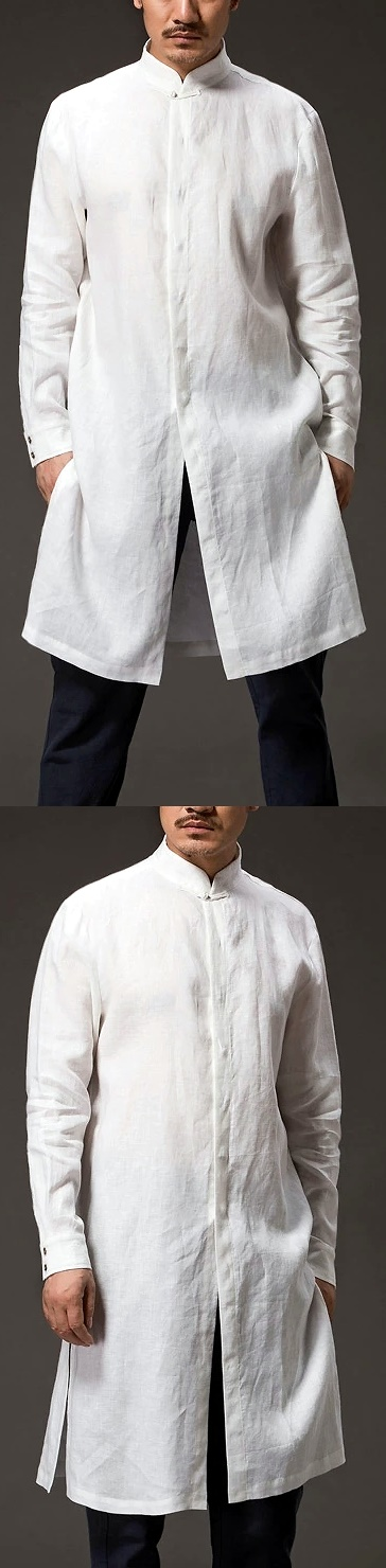 Standing Collar Linen Cotton Long Coat (CM)
