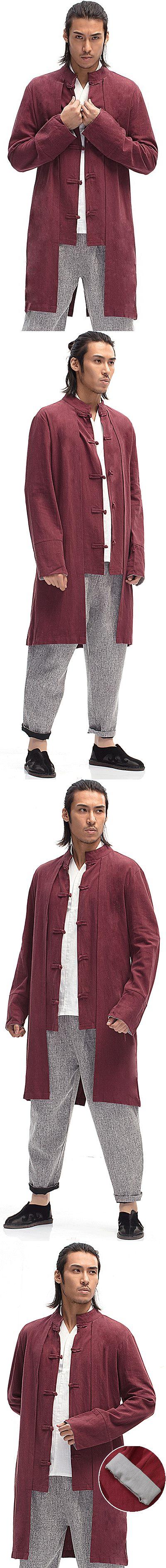 Standing Collar Linen Faux-2-piece Coat (RM)
