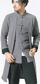 Standing Collar Linen Faux-2-piece Coat (RM)