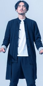 Standing Collar Linen Faux-2-piece Coat - Dark Navy (RM)