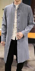 Standing Collar Cotton Linen Coat (RM)