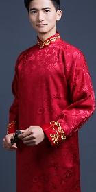 提花翻袖立領長衫(成衣)