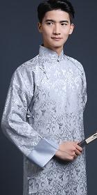 Jacquard Mandarin Robe w/Folding Cuffs (RM/CM)