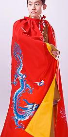 男漢服繡龍披風 - 紅色(成衣)