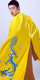 Men's Hanfu Dragon Embroidery Cloak - Yellow (RM)