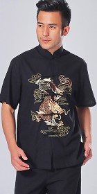 Short-sleeve Dragon Embroidery Mandarin Shirt - Black (RM)