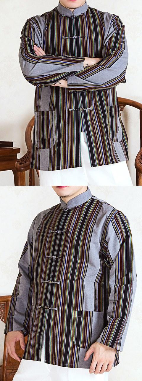唐裝條紋全棉短褂(成衣)