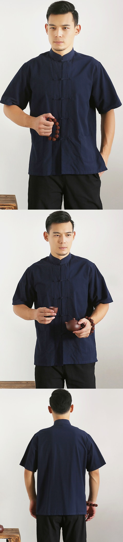 唐裝短袖純色全棉短褂(成衣)〉