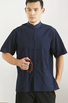 Mandarin Short-sleeve Plain Cotton Shirt (RM)