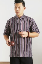 Mandarin Short-sleeve Stripe Cotton Shirt (RM)