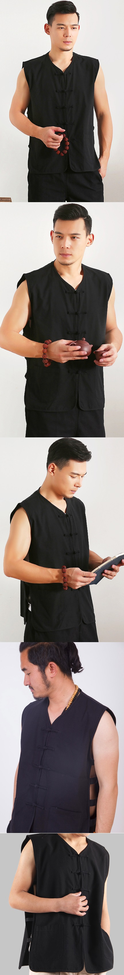 Mandarin Sleeveless Plain Cotton Shirt (RM)