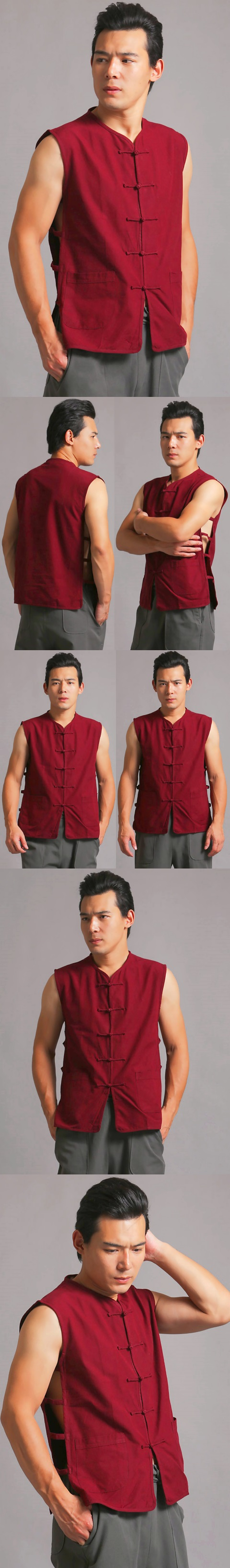 Mandarin Sleeveless Plain Cotton Shirt (RM)