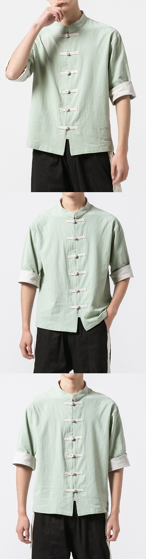 Chic Mandarin Elbow-length Folding-sleeve Cotton Shirt (RM/CM)