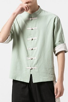 Chic Mandarin Elbow-length Folding-sleeve Cotton Shirt (RM/CM)
