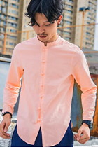 Chic Linen Long-sleeve Mandarin Shirt (RM)