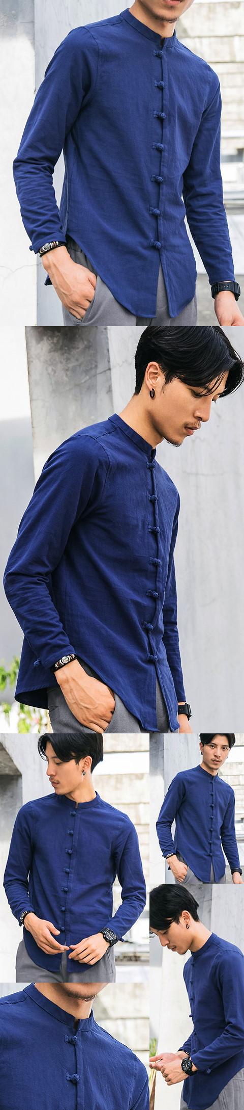 Chic Linen Long-sleeve Mandarin Shirt (RM)