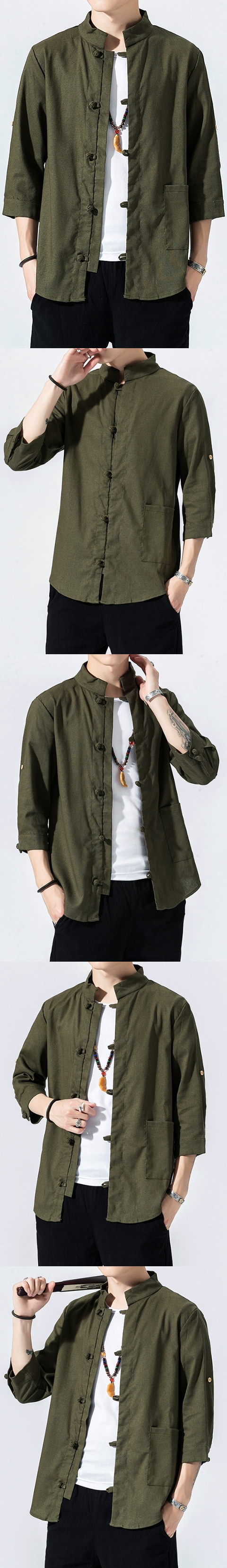 Chic Mandarin 3/4-sleeve Cotton Shirt - Olive (RM)