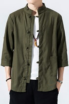 Chic Mandarin 3/4-sleeve Cotton Shirt - Olive (RM)