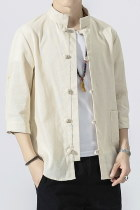 Chic Mandarin 3/4-sleeve Cotton Shirt - Beige (RM)